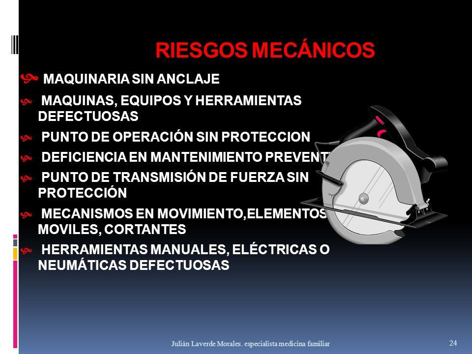 RIESGOS MECÁNICOS  MAQUINARIA SIN ANCLAJE  MAQUINAS, EQUIPOS Y HERRAMIENTAS DEFECTUOSAS  PUNTO DE OPERACIÓN SIN PROTECCION  DEFICIENCIA EN MANTENI