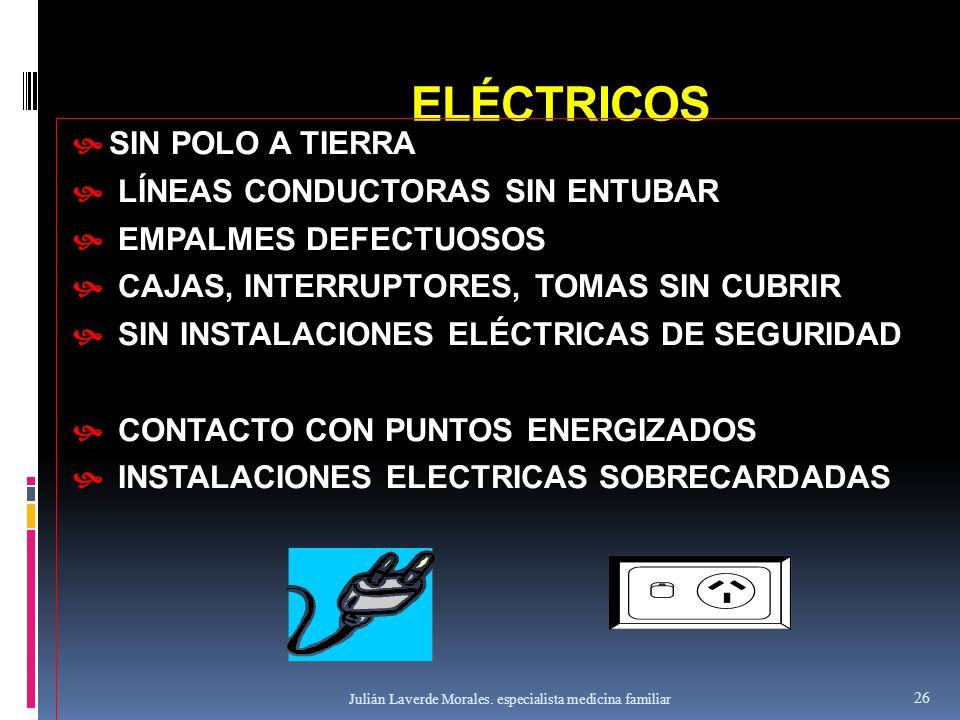 ELÉCTRICOS  SIN POLO A TIERRA  LÍNEAS CONDUCTORAS SIN ENTUBAR  EMPALMES DEFECTUOSOS  CAJAS, INTERRUPTORES, TOMAS SIN CUBRIR  SIN INSTALACIONES EL