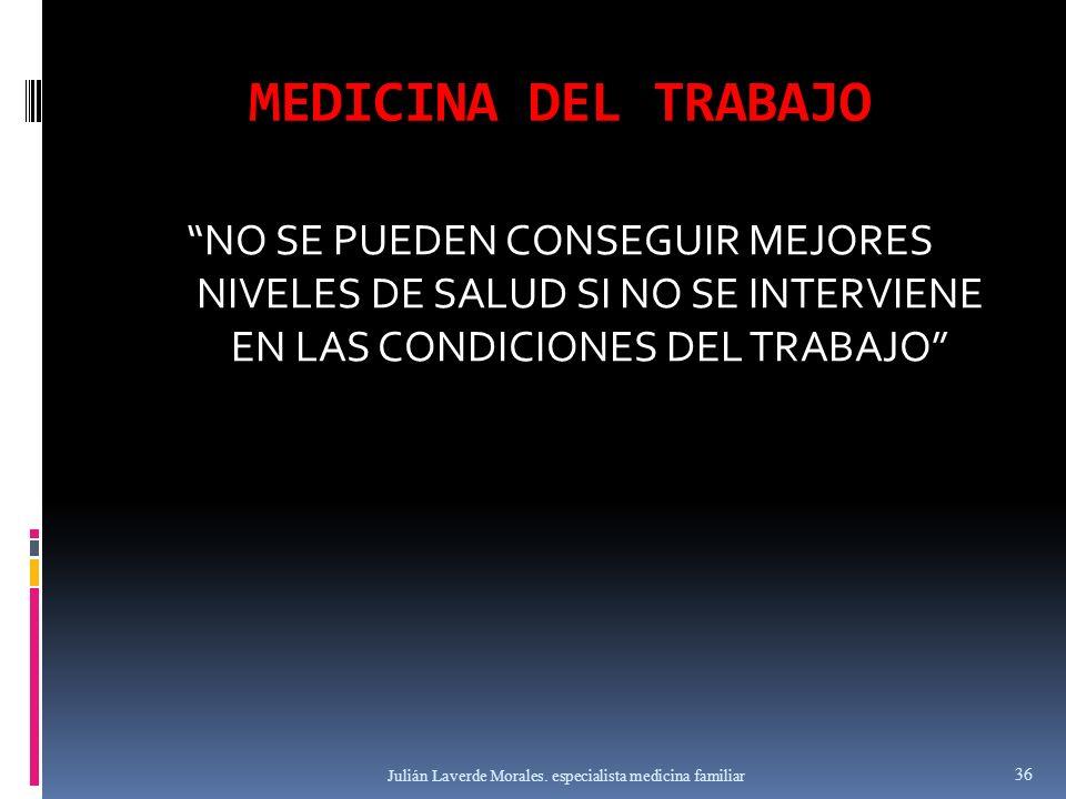 MEDICINA DEL TRABAJO NO SE PUEDEN CONSEGUIR MEJORES NIVELES DE SALUD SI NO SE INTERVIENE EN LAS CONDICIONES DEL TRABAJO Julián Laverde Morales. especi