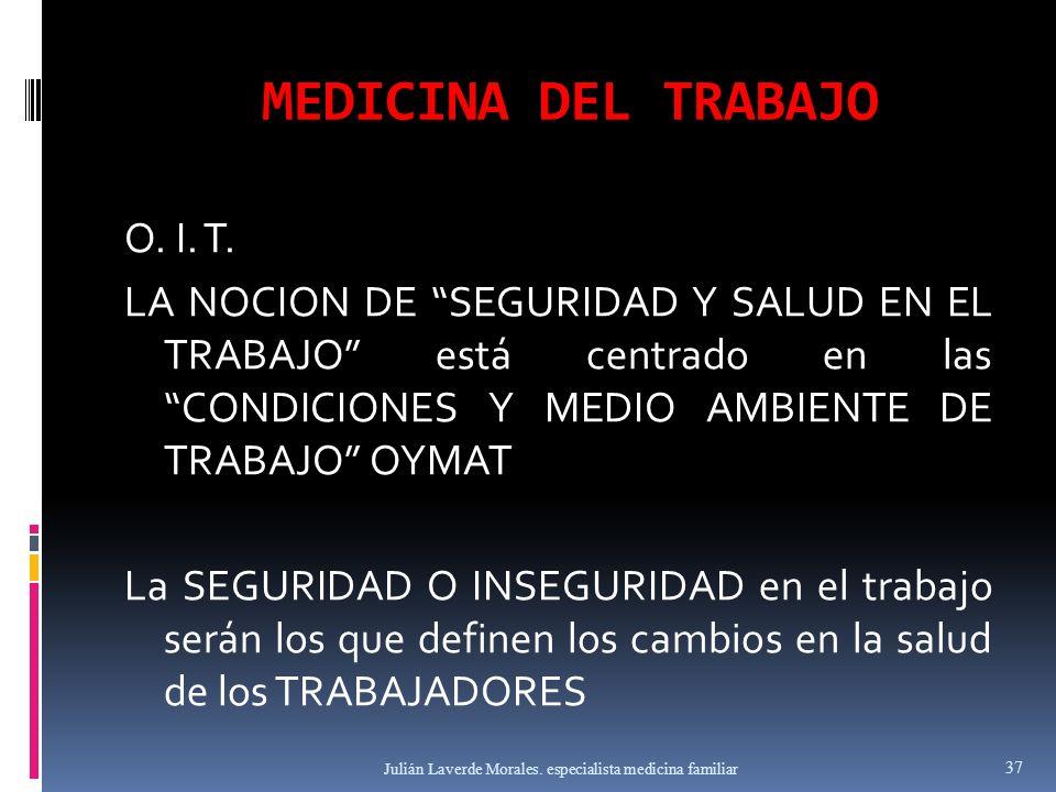 MEDICINA DEL TRABAJO O. I. T. LA NOCION DE SEGURIDAD Y SALUD EN EL TRABAJO está centrado en las CONDICIONES Y MEDIO AMBIENTE DE TRABAJO OYMAT La SEGUR