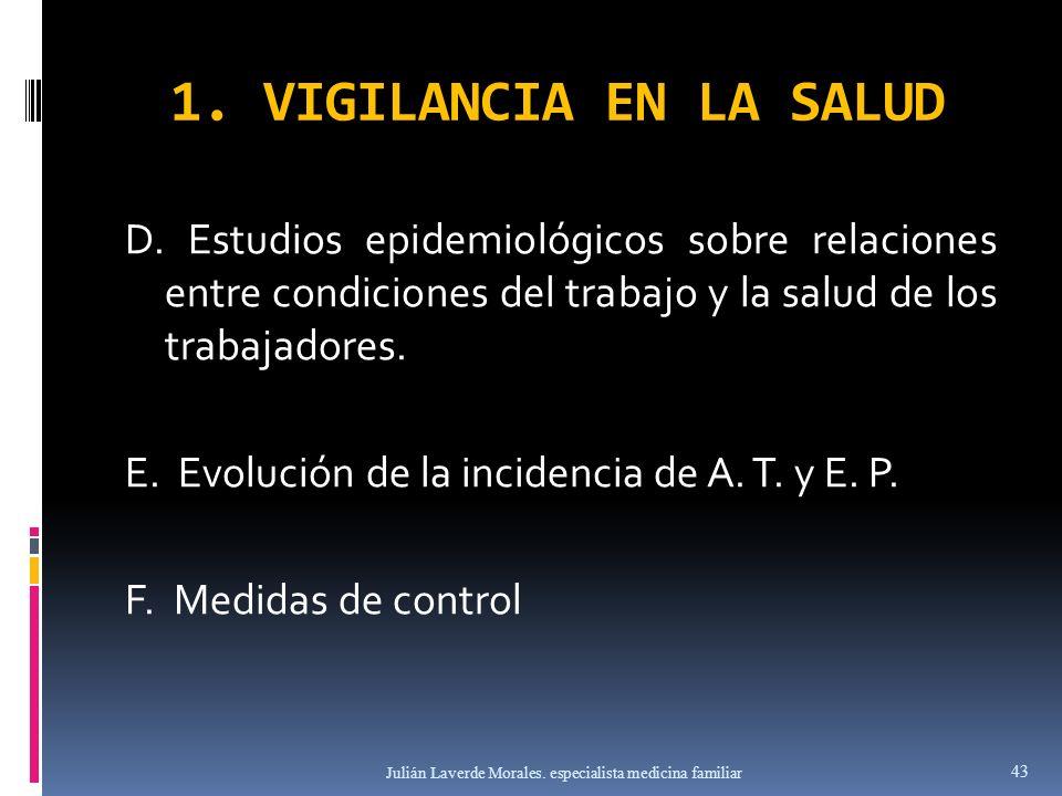 1. VIGILANCIA EN LA SALUD D. Estudios epidemiológicos sobre relaciones entre condiciones del trabajo y la salud de los trabajadores. E. Evolución de l