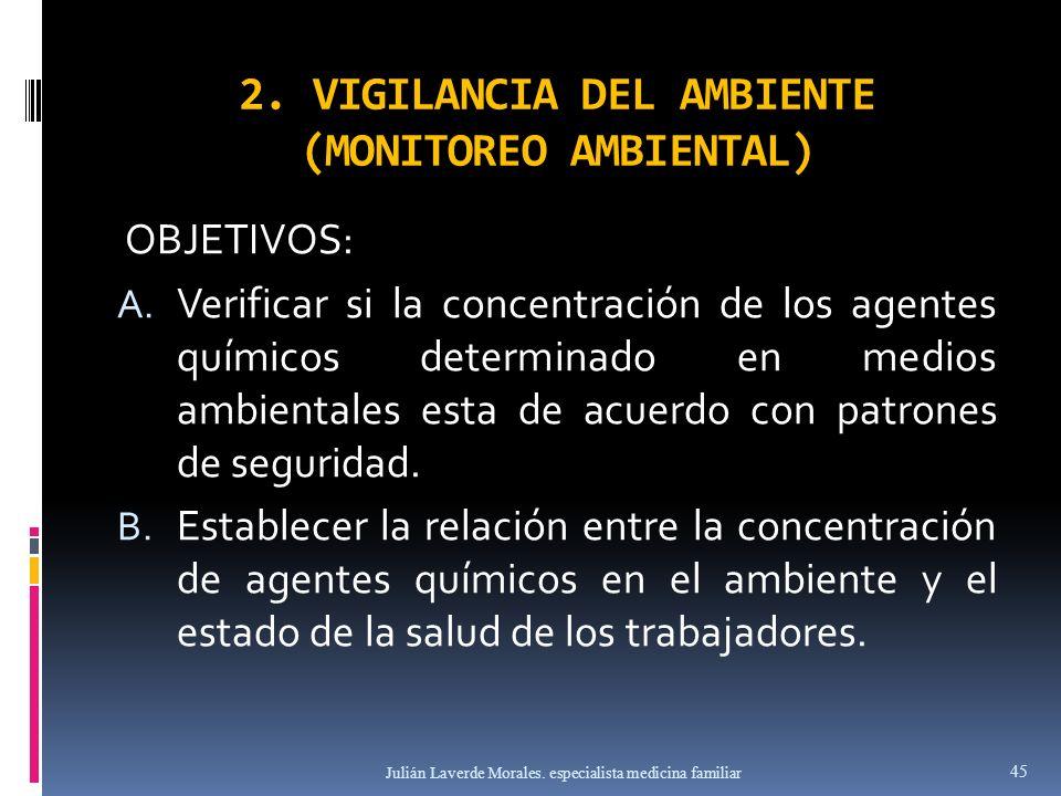 2. VIGILANCIA DEL AMBIENTE (MONITOREO AMBIENTAL) OBJETIVOS: A. Verificar si la concentración de los agentes químicos determinado en medios ambientales