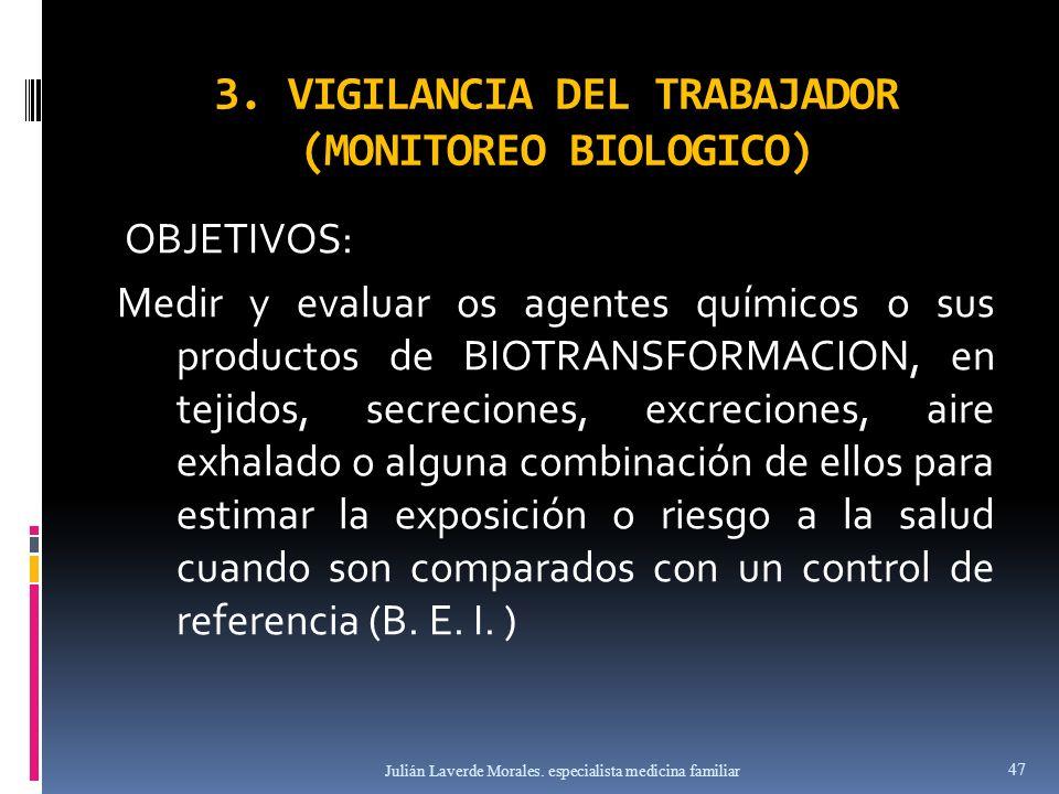 3. VIGILANCIA DEL TRABAJADOR (MONITOREO BIOLOGICO) OBJETIVOS: Medir y evaluar os agentes químicos o sus productos de BIOTRANSFORMACION, en tejidos, se