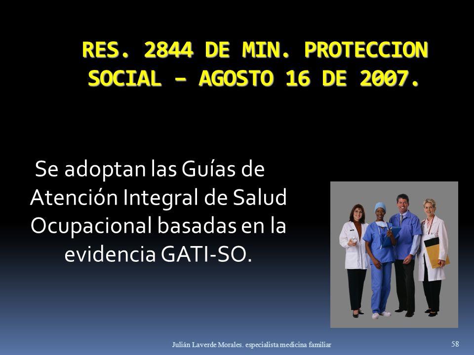 RES. 2844 DE MIN. PROTECCION SOCIAL – AGOSTO 16 DE 2007. Se adoptan las Guías de Atención Integral de Salud Ocupacional basadas en la evidencia GATI-S