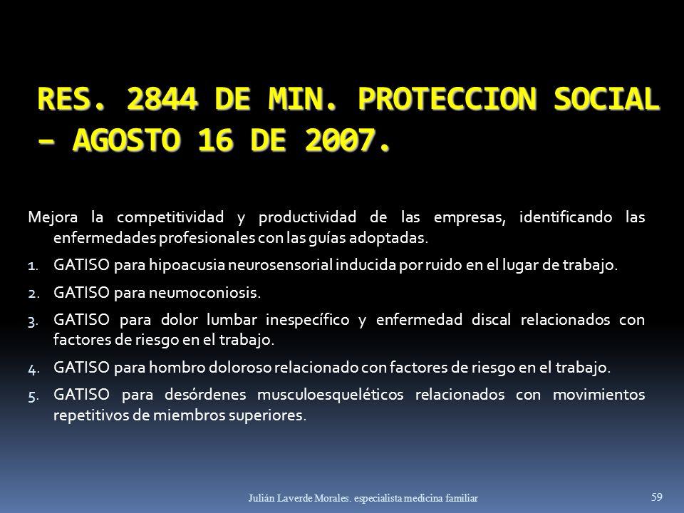 RES. 2844 DE MIN. PROTECCION SOCIAL – AGOSTO 16 DE 2007. Mejora la competitividad y productividad de las empresas, identificando las enfermedades prof
