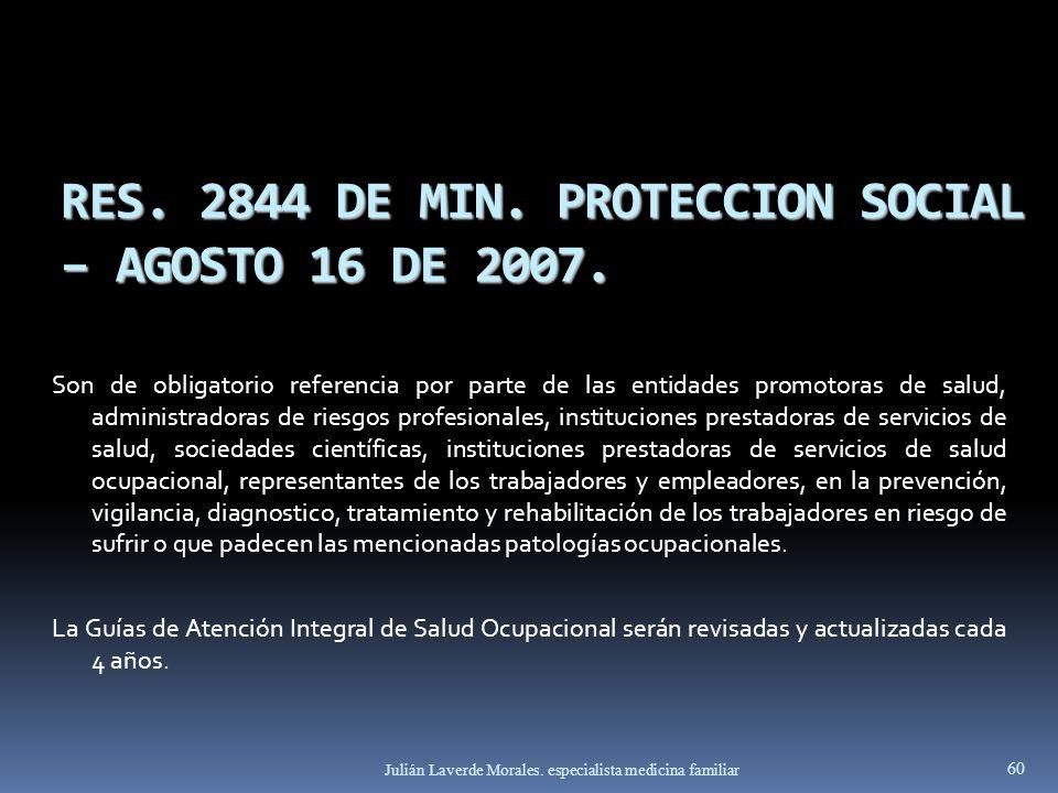 RES. 2844 DE MIN. PROTECCION SOCIAL – AGOSTO 16 DE 2007. Son de obligatorio referencia por parte de las entidades promotoras de salud, administradoras