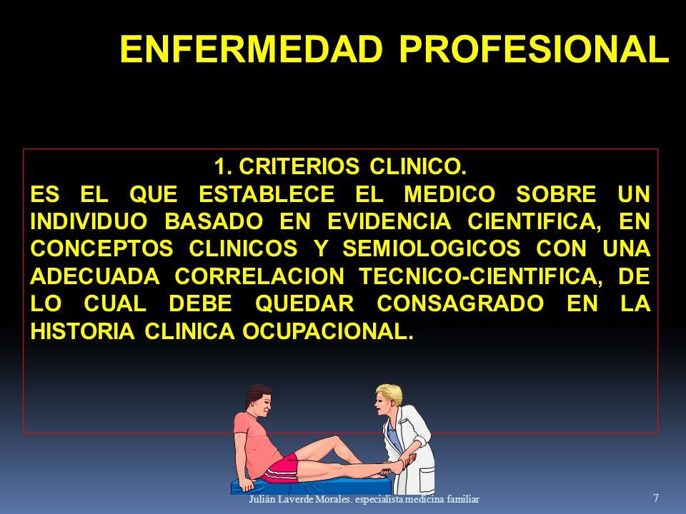Julián Laverde Morales. especialista medicina familiar 7 1. CRITERIOS CLINICO. ES EL QUE ESTABLECE EL MEDICO SOBRE UN INDIVIDUO BASADO EN EVIDENCIA CI