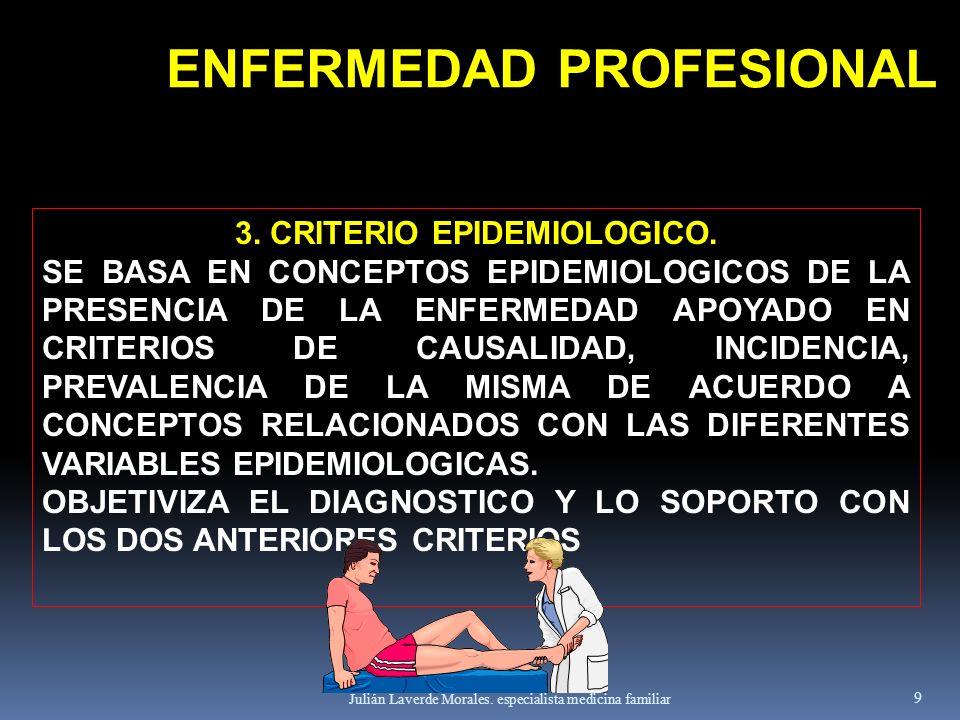 Julián Laverde Morales. especialista medicina familiar 9 3. CRITERIO EPIDEMIOLOGICO. SE BASA EN CONCEPTOS EPIDEMIOLOGICOS DE LA PRESENCIA DE LA ENFERM