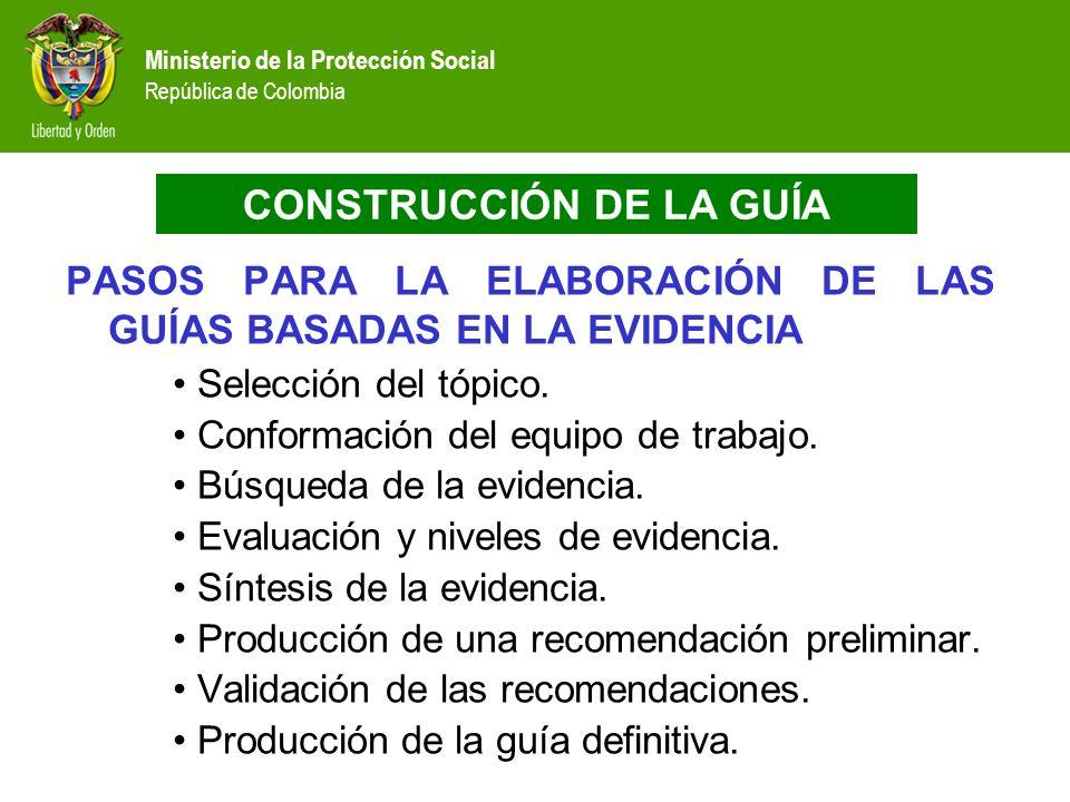 Ministerio de la Protección Social República de Colombia PASOS PARA LA ELABORACIÓN DE LAS GUÍAS BASADAS EN LA EVIDENCIA Selección del tópico. Conforma