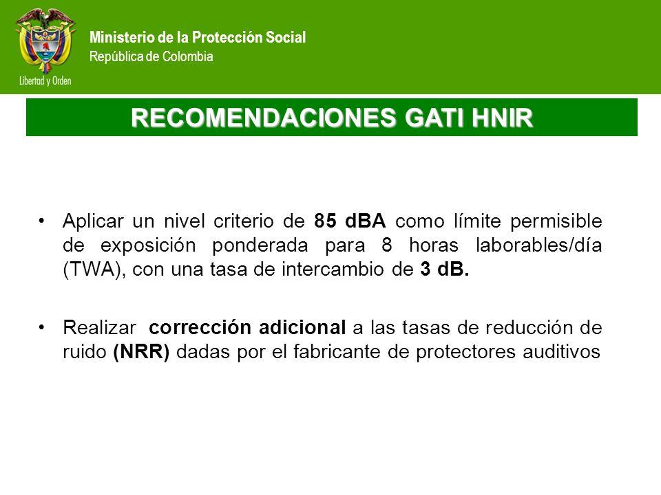 Ministerio de la Protección Social República de Colombia RECOMENDACIONES GATI HNIR Aplicar un nivel criterio de 85 dBA como límite permisible de expos