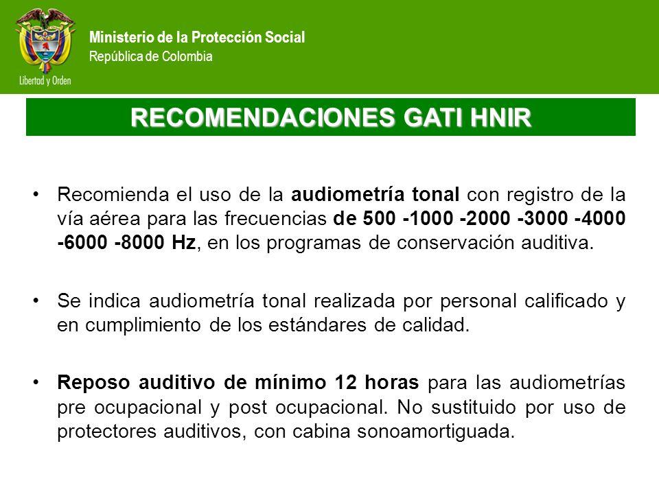 Ministerio de la Protección Social República de Colombia RECOMENDACIONES GATI HNIR Recomienda el uso de la audiometría tonal con registro de la vía aé