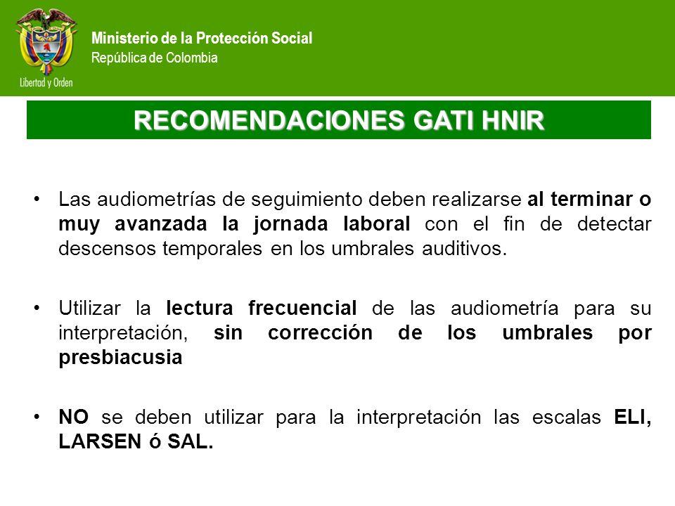 Ministerio de la Protección Social República de Colombia RECOMENDACIONES GATI HNIR Las audiometrías de seguimiento deben realizarse al terminar o muy