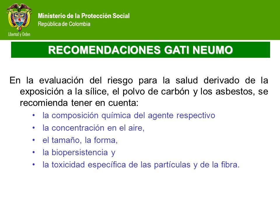 Ministerio de la Protección Social República de Colombia RECOMENDACIONES GATI NEUMO En la evaluación del riesgo para la salud derivado de la exposició