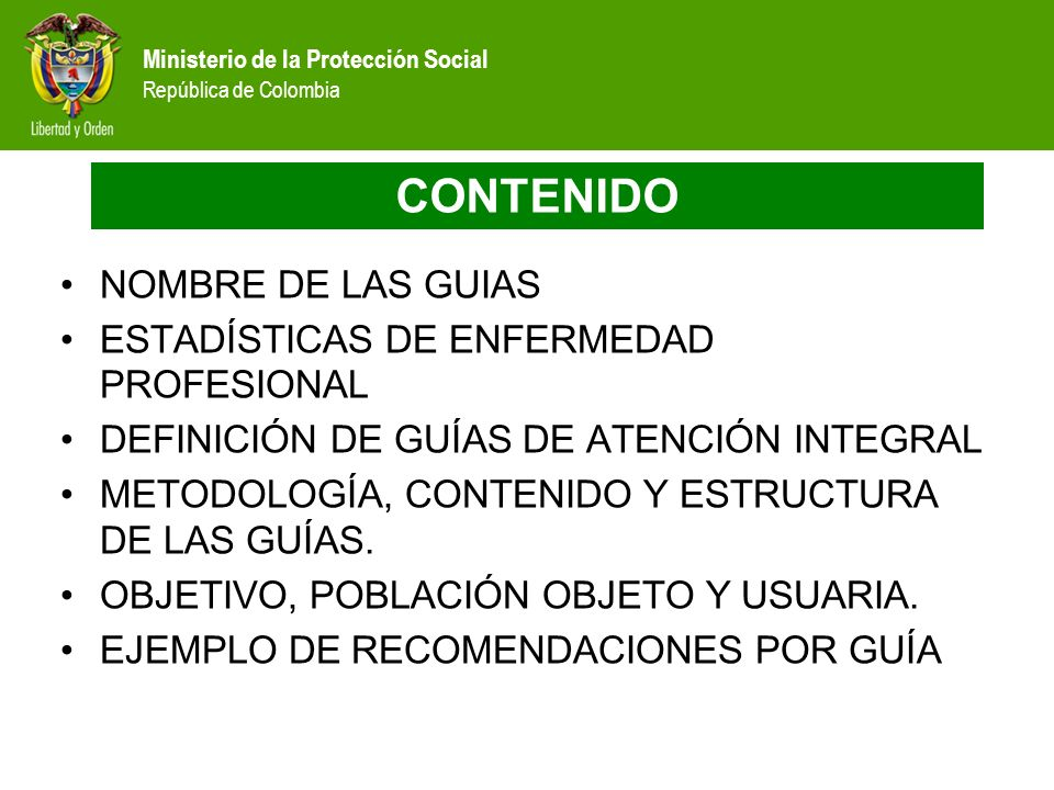 Ministerio de la Protección Social República de Colombia CONTENIDO NOMBRE DE LAS GUIAS ESTADÍSTICAS DE ENFERMEDAD PROFESIONAL DEFINICIÓN DE GUÍAS DE A