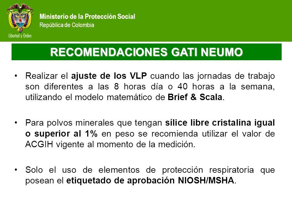 Ministerio de la Protección Social República de Colombia RECOMENDACIONES GATI NEUMO Realizar el ajuste de los VLP cuando las jornadas de trabajo son d
