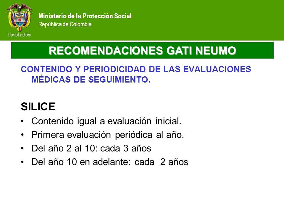 Ministerio de la Protección Social República de Colombia RECOMENDACIONES GATI NEUMO CONTENIDO Y PERIODICIDAD DE LAS EVALUACIONES MÉDICAS DE SEGUIMIENT