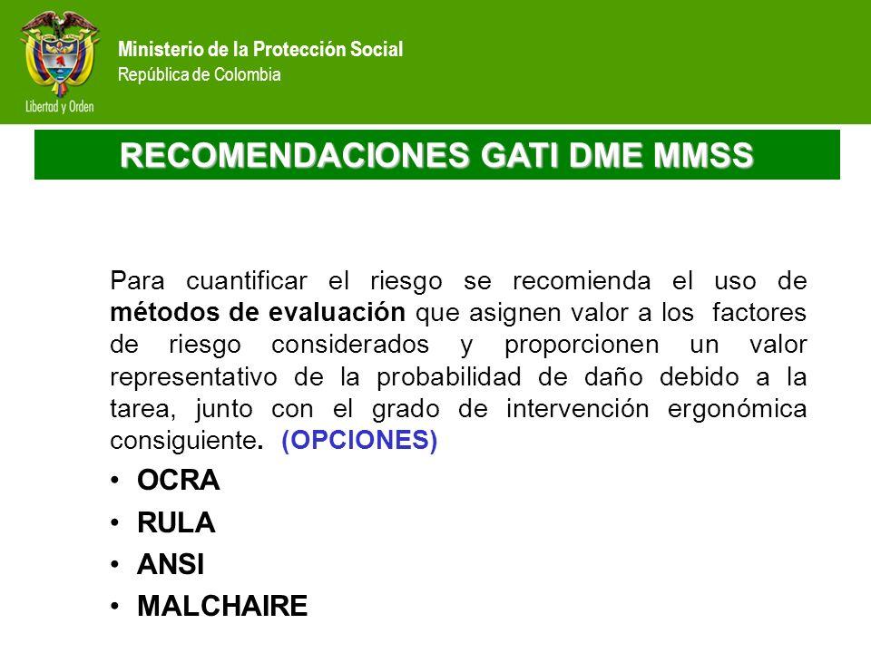 Ministerio de la Protección Social República de Colombia RECOMENDACIONES GATI DME MMSS Para cuantificar el riesgo se recomienda el uso de métodos de e