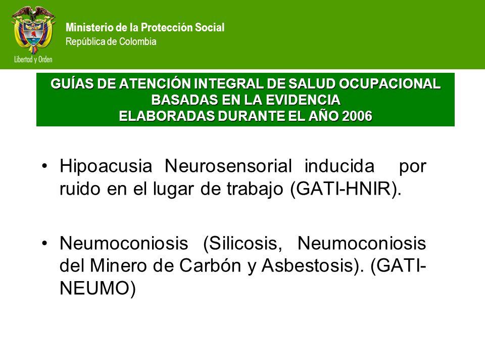 Ministerio de la Protección Social República de Colombia Hipoacusia Neurosensorial inducida por ruido en el lugar de trabajo (GATI-HNIR). Neumoconiosi