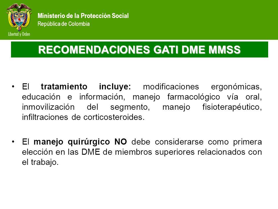 Ministerio de la Protección Social República de Colombia RECOMENDACIONES GATI DME MMSS El tratamiento incluye: modificaciones ergonómicas, educación e