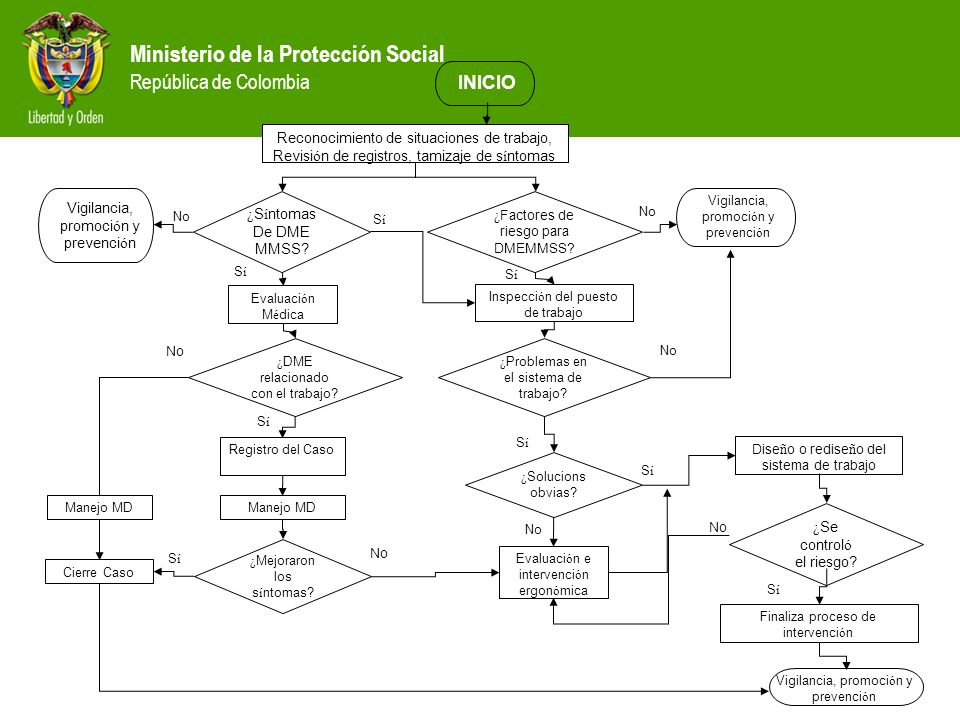 Ministerio de la Protección Social República de Colombia Reconocimiento de situaciones de trabajo, Revisi ó n de registros, tamizaje de s í ntomas Ins