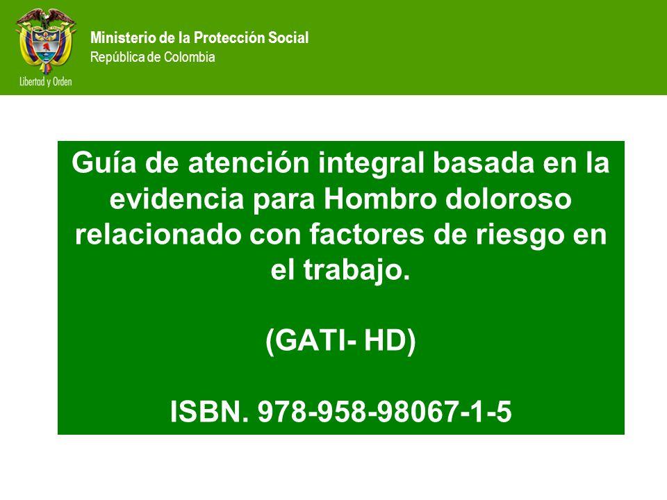 Ministerio de la Protección Social República de Colombia Guía de atención integral basada en la evidencia para Hombro doloroso relacionado con factore