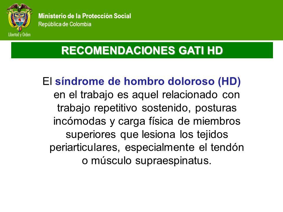 Ministerio de la Protección Social República de Colombia RECOMENDACIONES GATI HD El síndrome de hombro doloroso (HD) en el trabajo es aquel relacionad