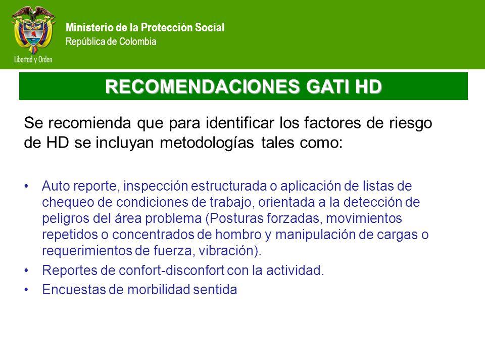 Ministerio de la Protección Social República de Colombia RECOMENDACIONES GATI HD Se recomienda que para identificar los factores de riesgo de HD se in