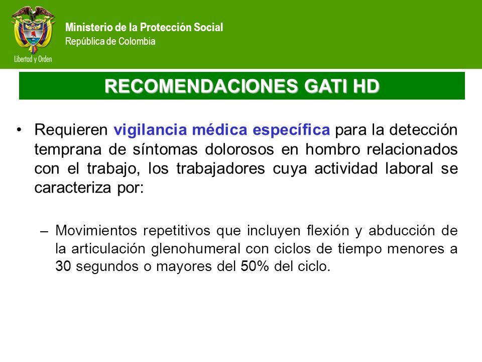 Ministerio de la Protección Social República de Colombia RECOMENDACIONES GATI HD Requieren vigilancia médica específica para la detección temprana de