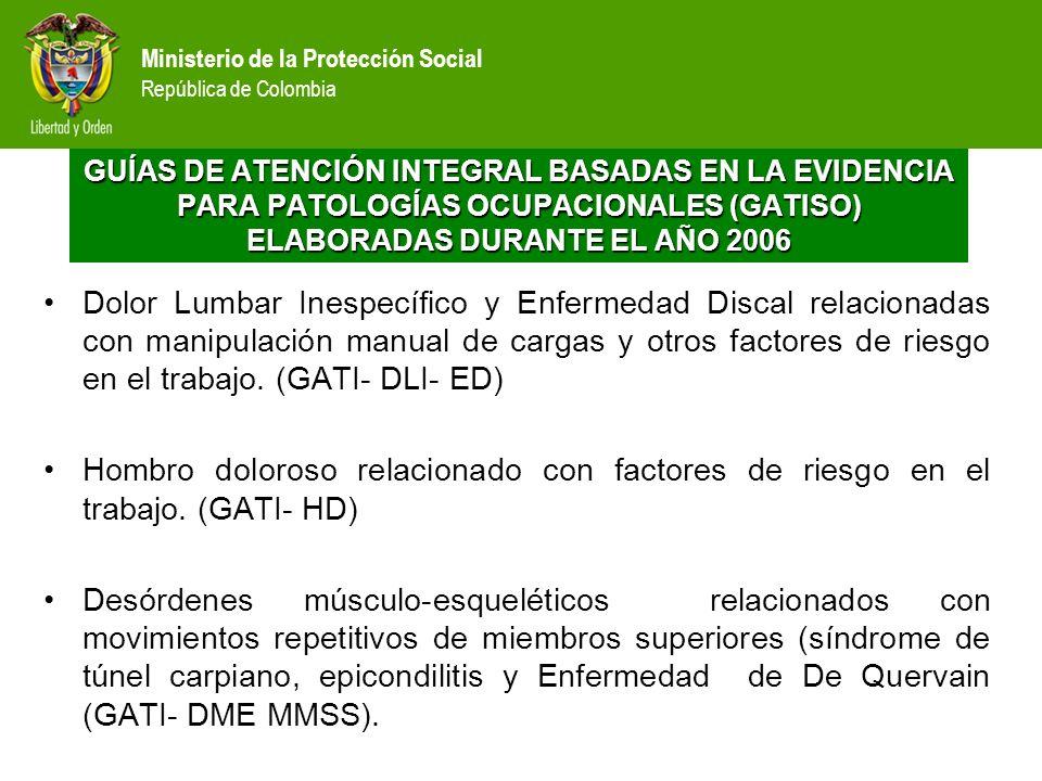 Ministerio de la Protección Social República de Colombia Dolor Lumbar Inespecífico y Enfermedad Discal relacionadas con manipulación manual de cargas