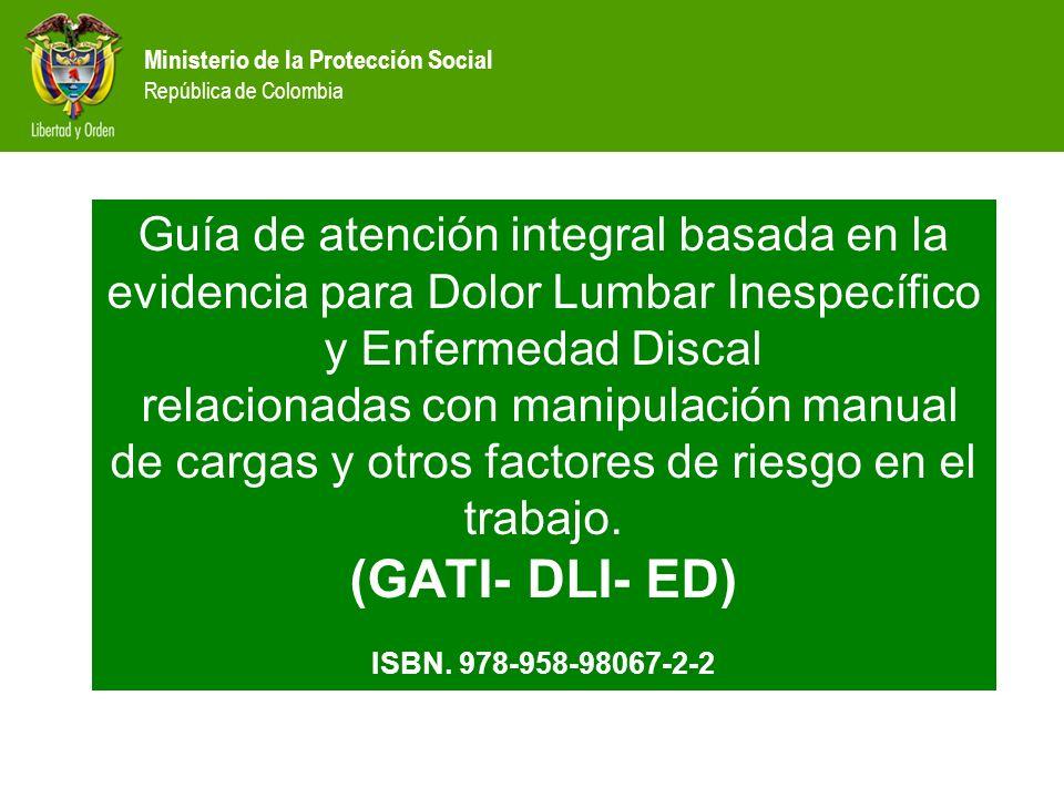 Ministerio de la Protección Social República de Colombia Guía de atención integral basada en la evidencia para Dolor Lumbar Inespecífico y Enfermedad