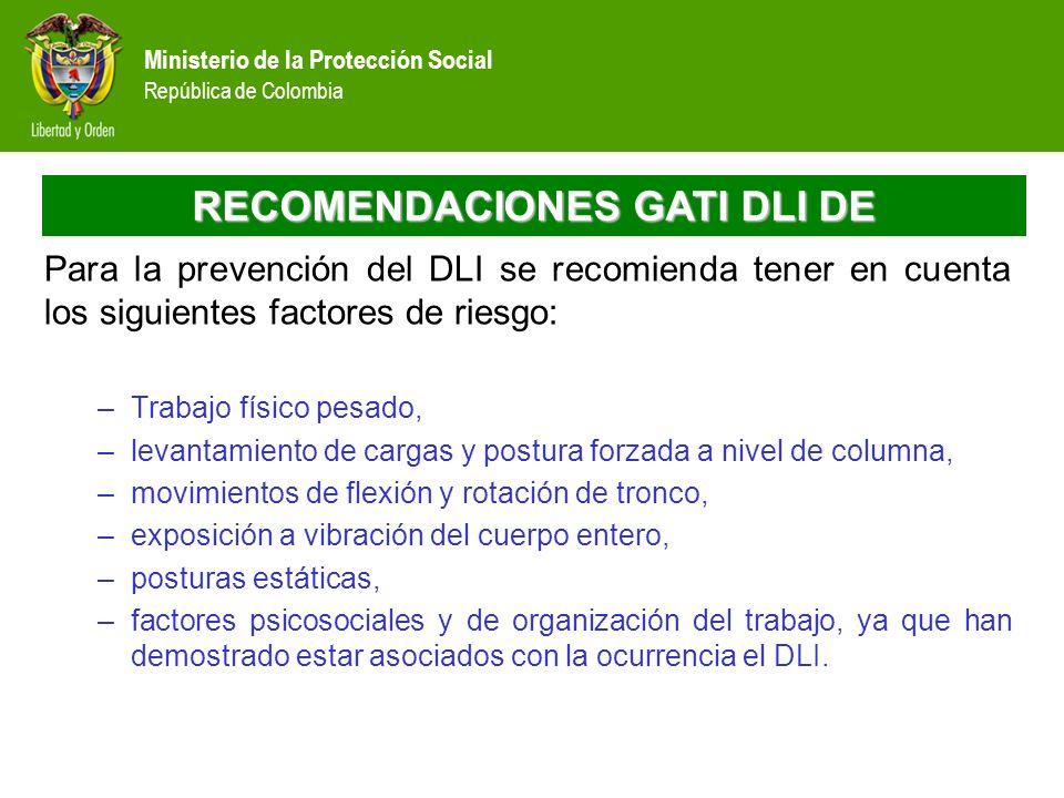 Ministerio de la Protección Social República de Colombia RECOMENDACIONES GATI DLI DE Para la prevención del DLI se recomienda tener en cuenta los sigu