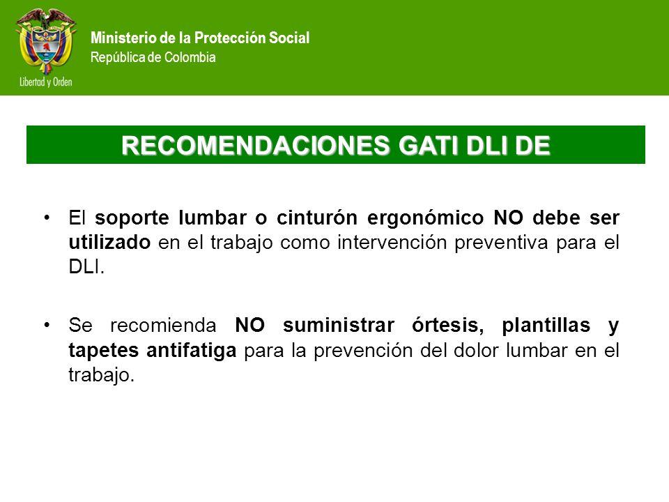 Ministerio de la Protección Social República de Colombia RECOMENDACIONES GATI DLI DE El soporte lumbar o cinturón ergonómico NO debe ser utilizado en