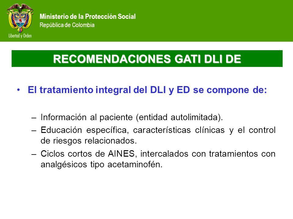 Ministerio de la Protección Social República de Colombia RECOMENDACIONES GATI DLI DE El tratamiento integral del DLI y ED se compone de: –Información
