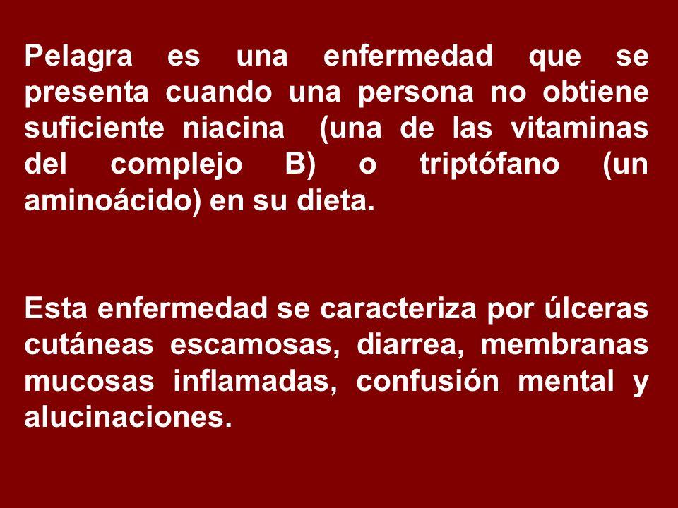 Pelagra es una enfermedad que se presenta cuando una persona no obtiene suficiente niacina (una de las vitaminas del complejo B) o triptófano (un amin