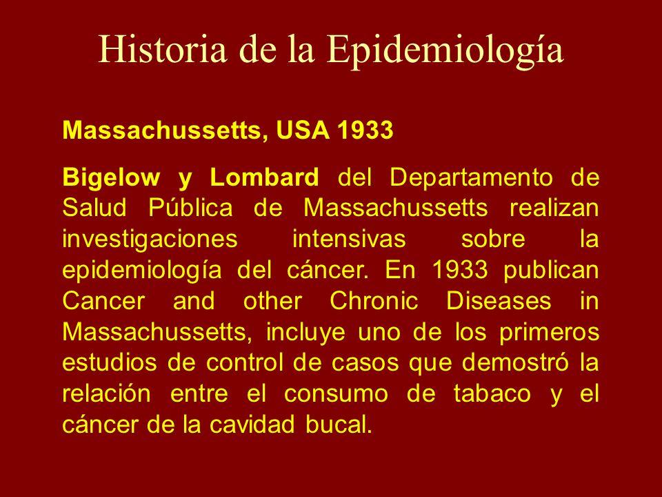 Historia de la Epidemiología Massachussetts, USA 1933 Bigelow y Lombard del Departamento de Salud Pública de Massachussetts realizan investigaciones i
