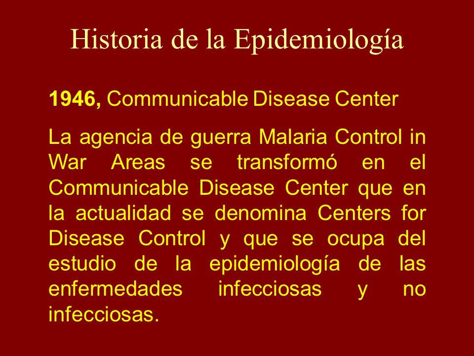 Historia de la Epidemiología 1946, Communicable Disease Center La agencia de guerra Malaria Control in War Areas se transformó en el Communicable Dise