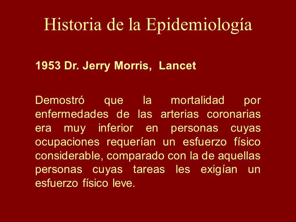 Historia de la Epidemiología 1953 Dr. Jerry Morris, Lancet Demostró que la mortalidad por enfermedades de las arterias coronarias era muy inferior en