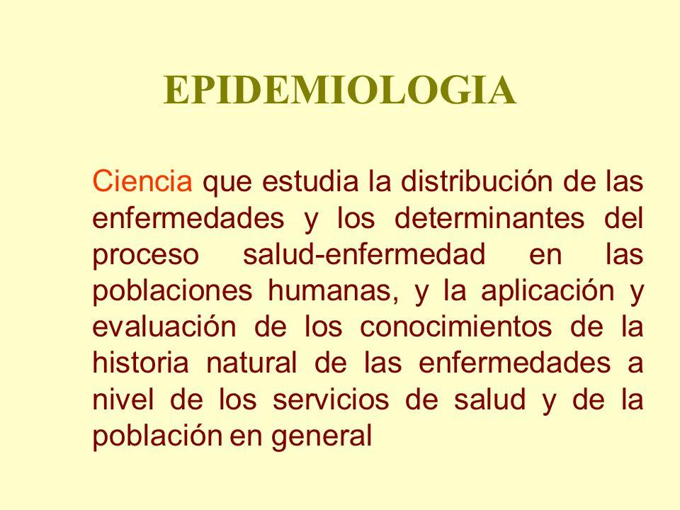 EPIDEMIOLOGIA Ciencia que estudia la distribución de las enfermedades y los determinantes del proceso salud-enfermedad en las poblaciones humanas, y l