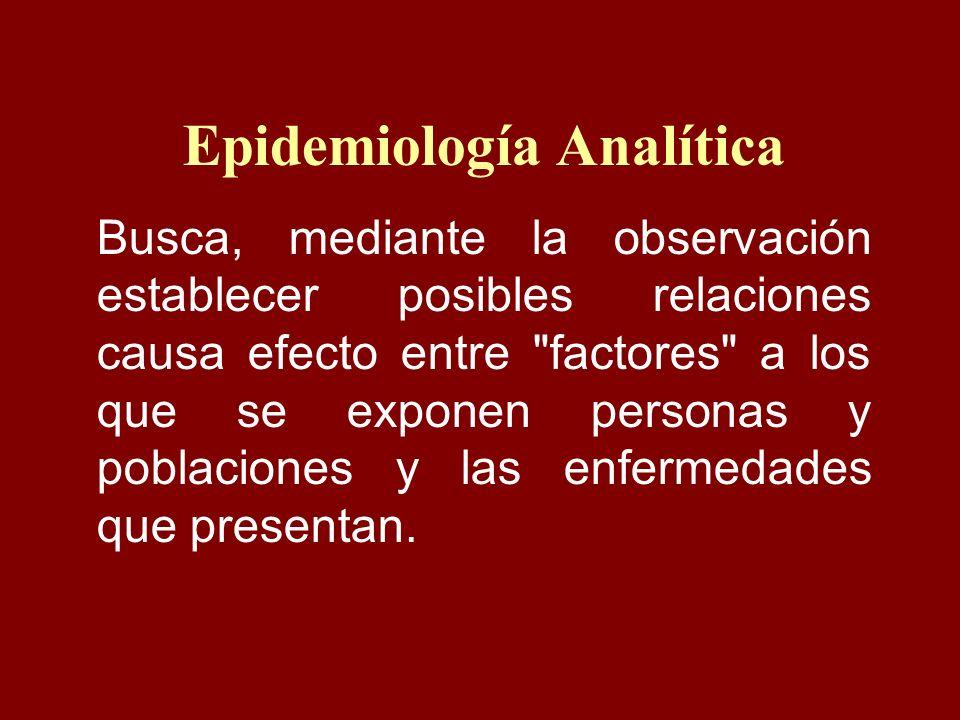 Epidemiología Analítica Busca, mediante la observación establecer posibles relaciones causa efecto entre