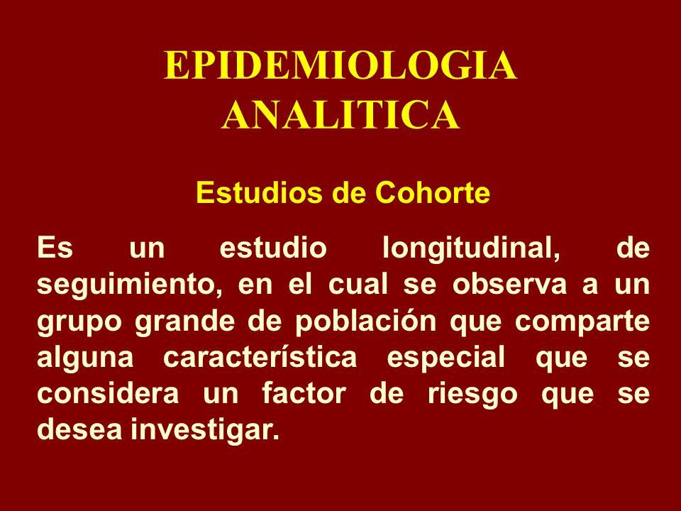 EPIDEMIOLOGIA ANALITICA Estudios de Cohorte Es un estudio longitudinal, de seguimiento, en el cual se observa a un grupo grande de población que compa