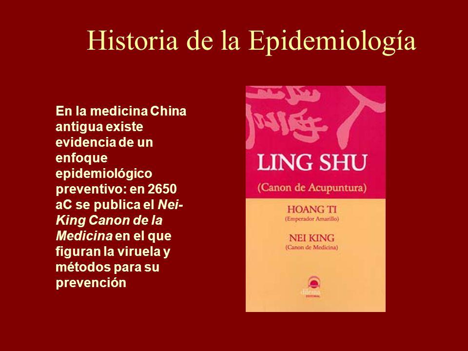 En la medicina China antigua existe evidencia de un enfoque epidemiológico preventivo: en 2650 aC se publica el Nei- King Canon de la Medicina en el q