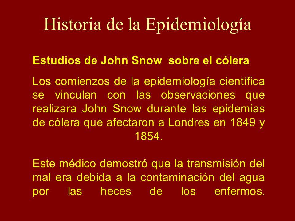 Historia de la Epidemiología Estudios de John Snow sobre el cólera Los comienzos de la epidemiología científica se vinculan con las observaciones que