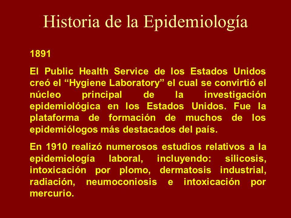 Historia de la Epidemiología 1891 El Public Health Service de los Estados Unidos creó el Hygiene Laboratory el cual se convirtió el núcleo principal d