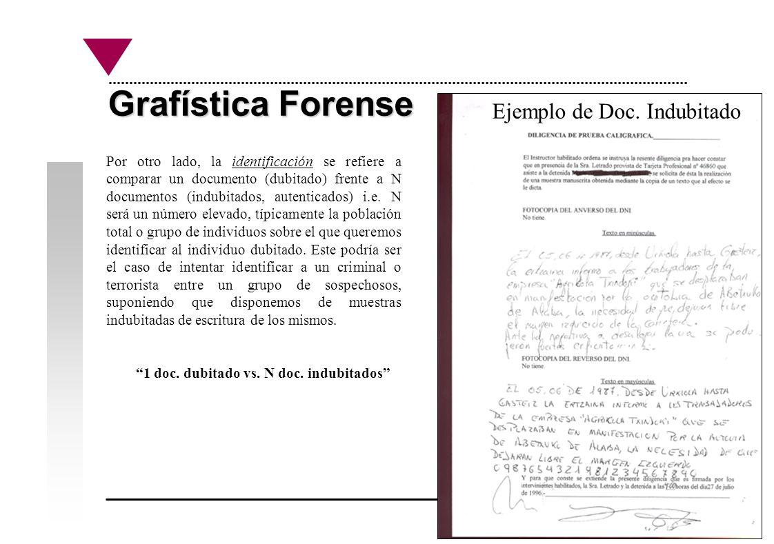 Grafística Forense Por otro lado, la identificación se refiere a comparar un documento (dubitado) frente a N documentos (indubitados, autenticados) i.