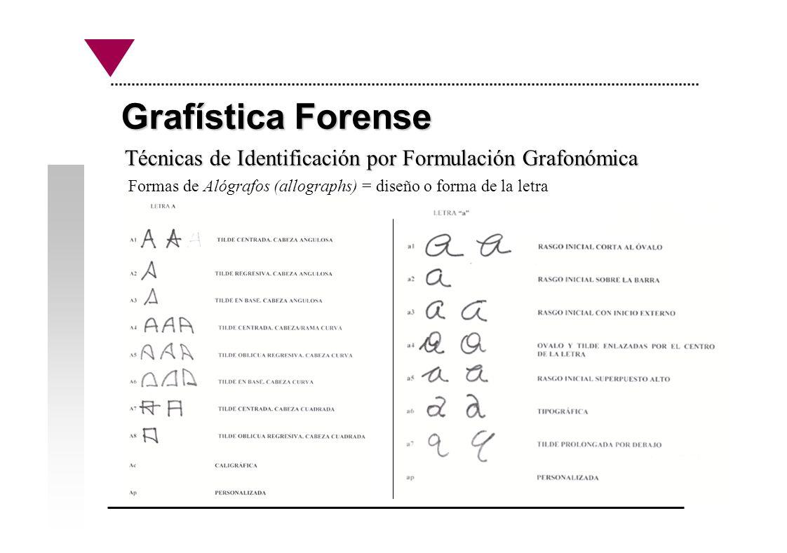 Grafística Forense Técnicas de Identificación por Formulación Grafonómica Formas de Alógrafos (allographs) = diseño o forma de la letra