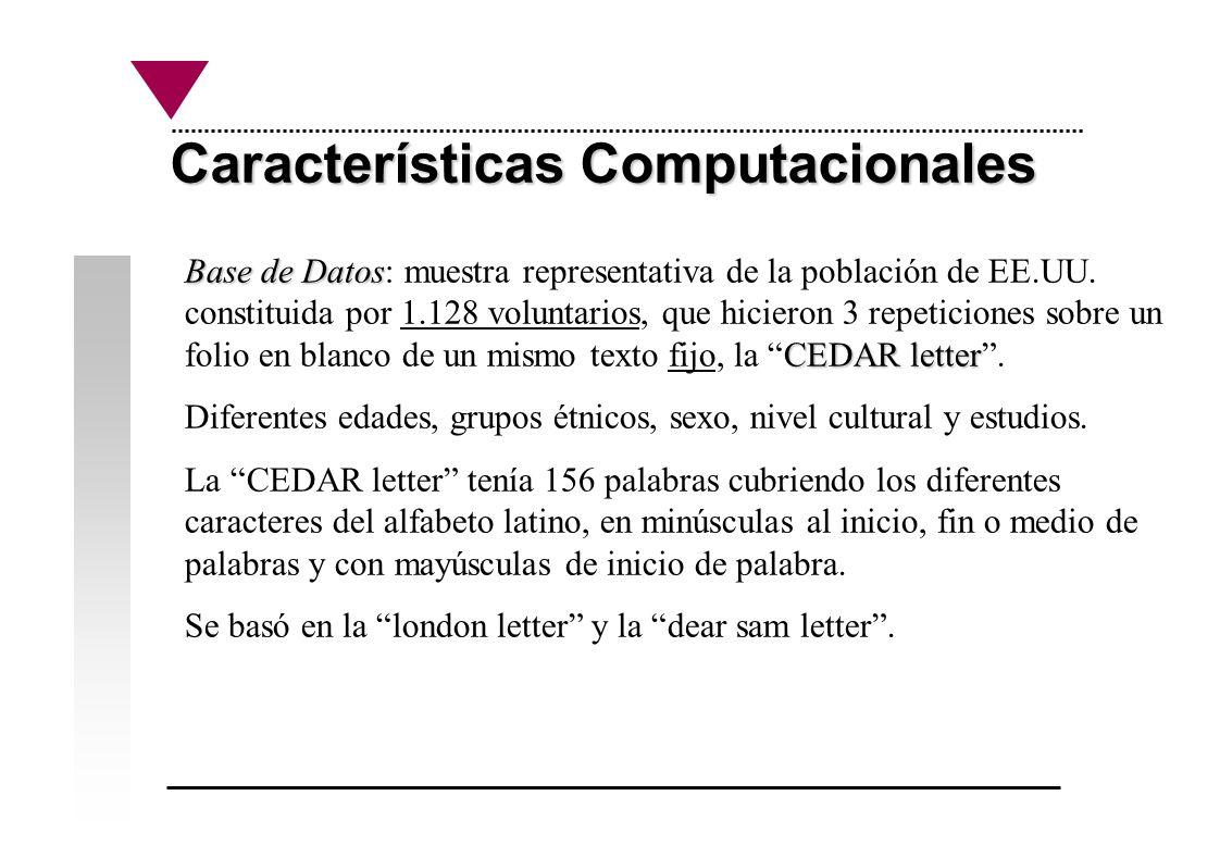 Características Computacionales Base de Datos CEDAR letter Base de Datos: muestra representativa de la población de EE.UU. constituida por 1.128 volun