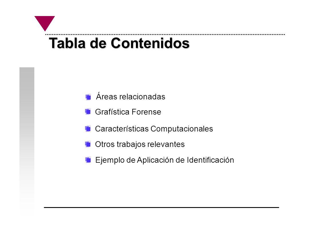 Tabla de Contenidos Tabla de Contenidos Grafística Forense Características Computacionales Otros trabajos relevantes Ejemplo de Aplicación de Identifi