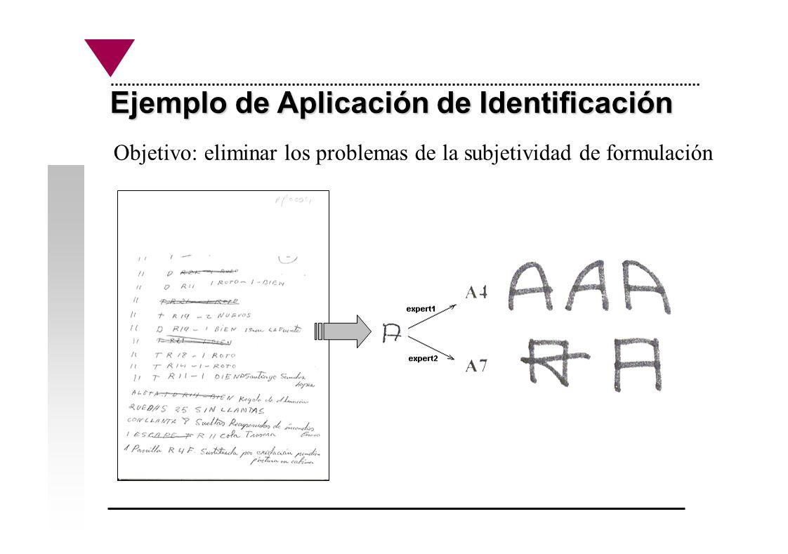 Ejemplo de Aplicación de Identificación Objetivo: eliminar los problemas de la subjetividad de formulación