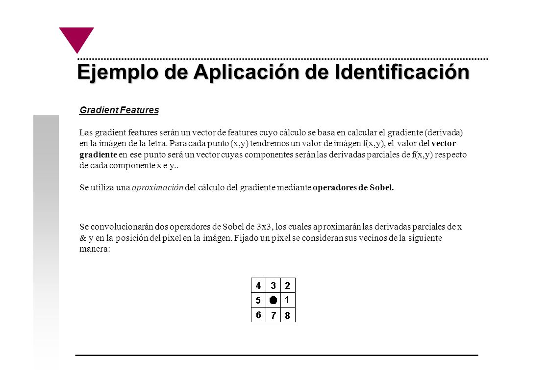 Ejemplo de Aplicación de Identificación Gradient Features Las gradient features serán un vector de features cuyo cálculo se basa en calcular el gradie
