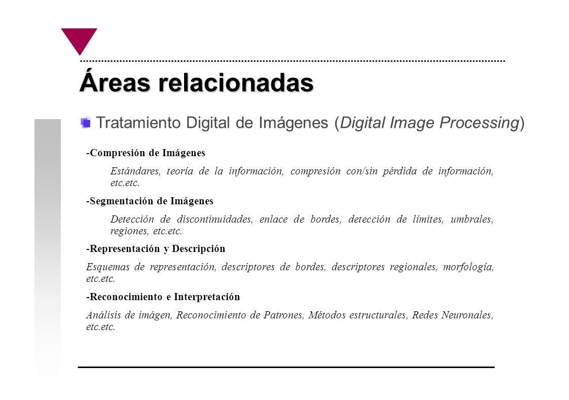 Áreas relacionadas Tratamiento Digital de Imágenes (Digital Image Processing) -Compresión de Imágenes Estándares, teoría de la información, compresión